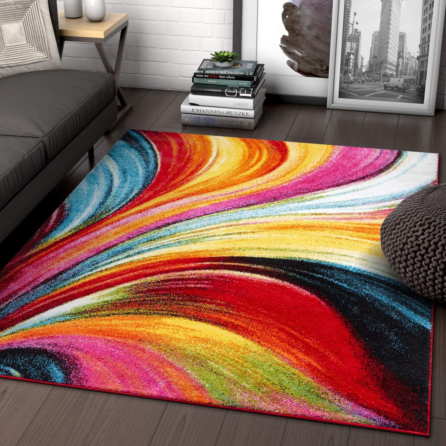 "Aurora Multi Red Yellow Orange Swirl Lines Modern Geometric Abstract Brush Stroke Area Rug 5 x 7 ( 5'3"" x 7'3"" ) Easy Clean Stain Resistant Shed Free Contemporary Painting Art Stripe Thick Soft Plush product image"