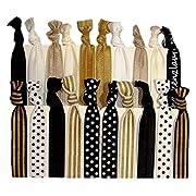 Kenz Laurenz 20-Pack Black White Gold Dots Striped Hair Bands with Ponytail Holder