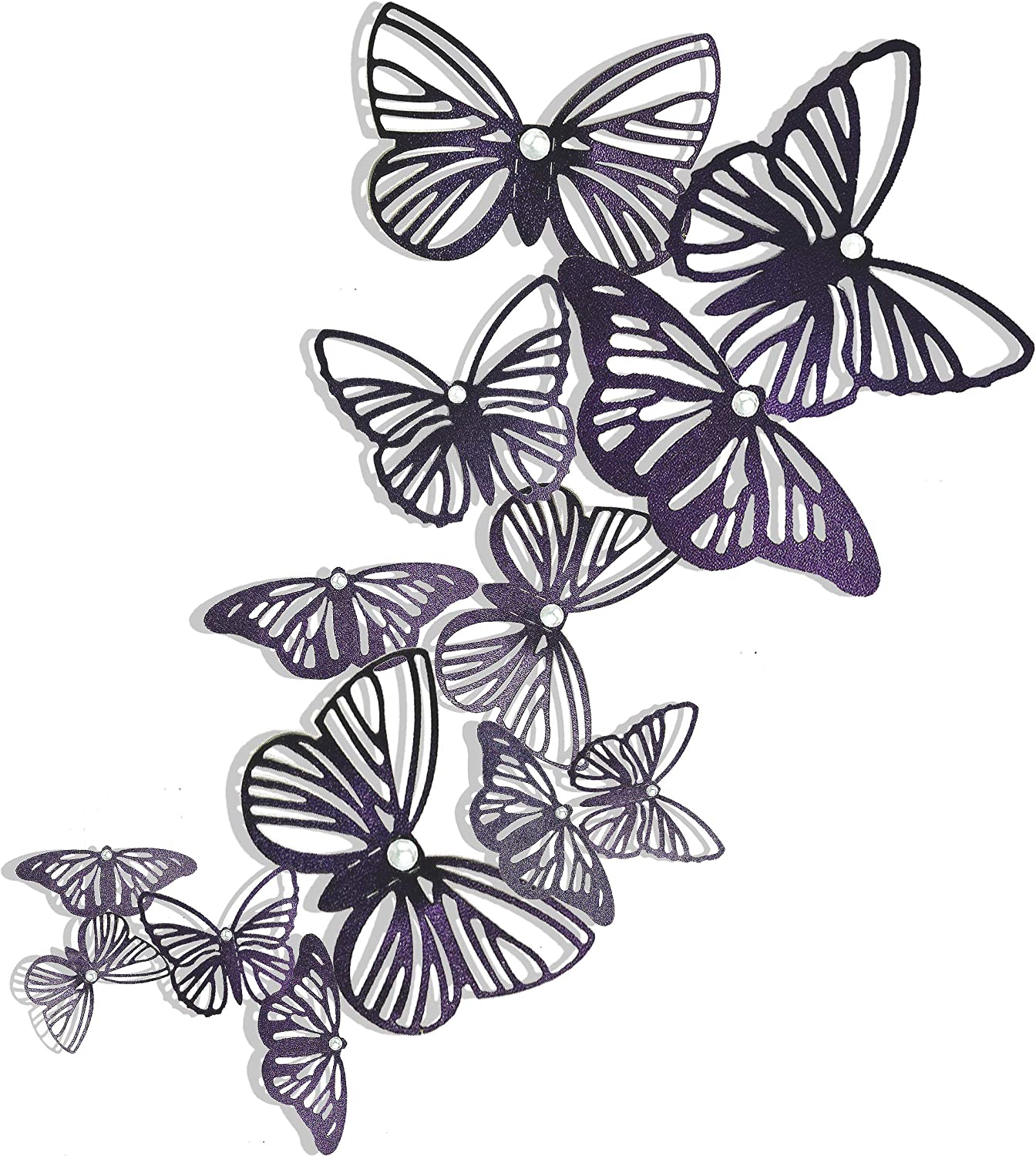 pinkblume Dark Purple Butterfly Decorations 3D Butterflies Wall Art Decals Stickers DIY Removable Paper Pearl Butterflies for Kids Room Living Room Nursery Bedroom Showcase Wall Decor(36PCS)