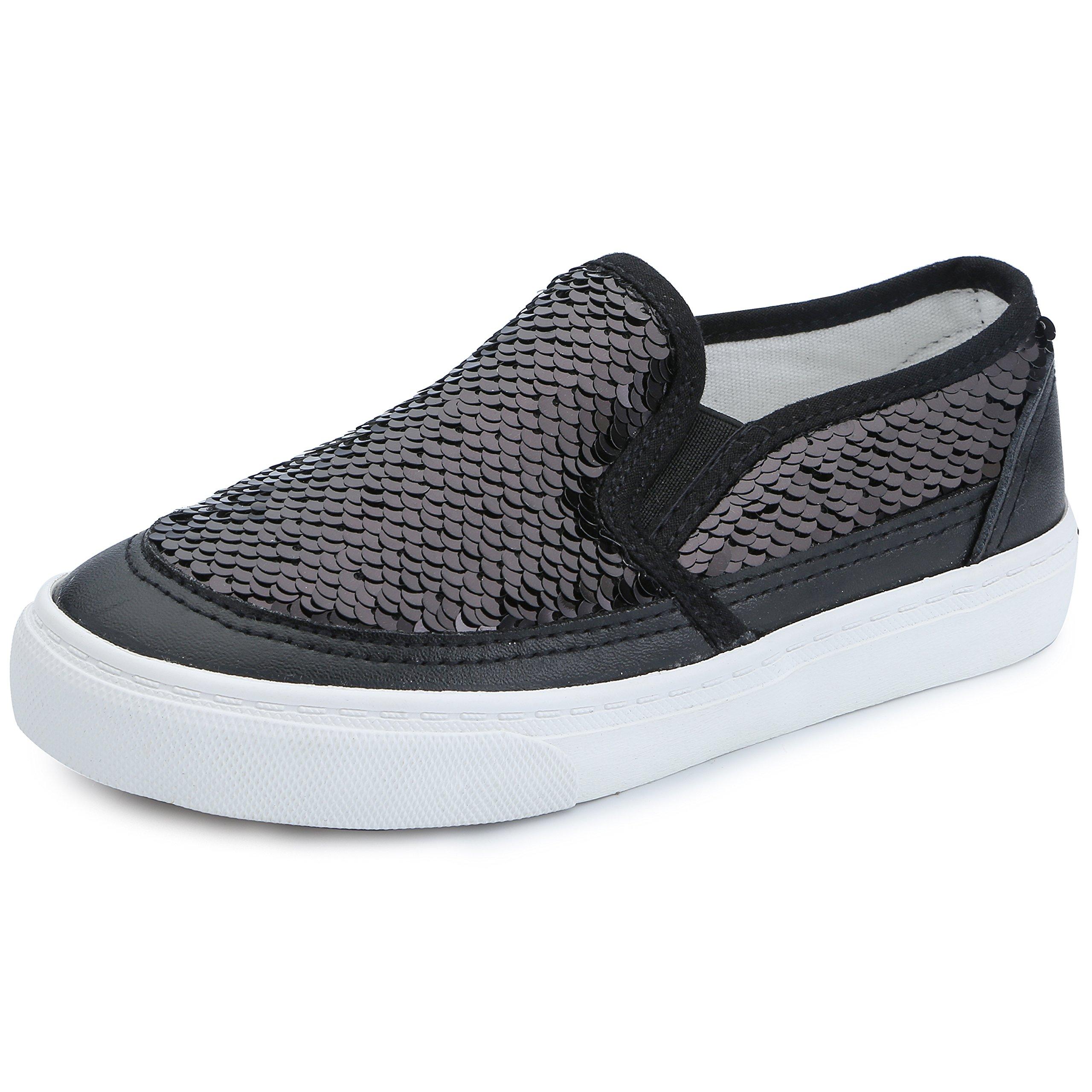 VECJUNIA Boy's Girl's Sequins Low Top Casual Loafers Sneakers(Toddler/Little Kid/Big Kid) (Black, 3 M US Little Kid )