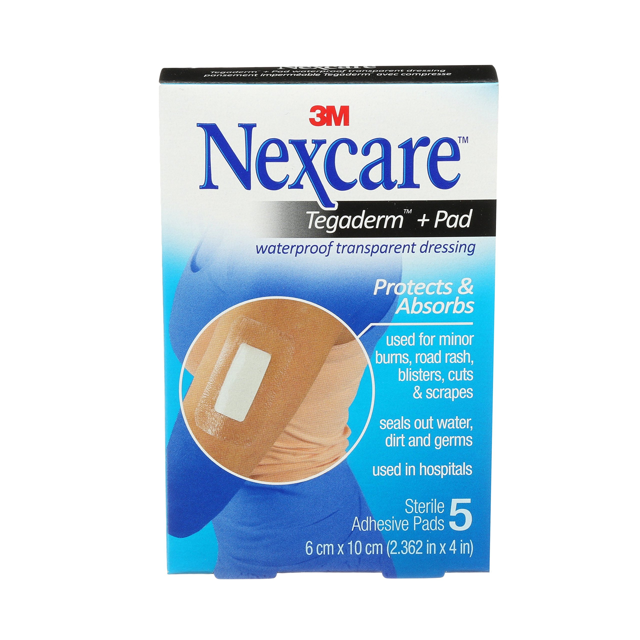 Nexcare Tegaderm + Pad Waterproof Transparent Dressing, 2.375 x 4 inches, 5 Count (Pack of 4)