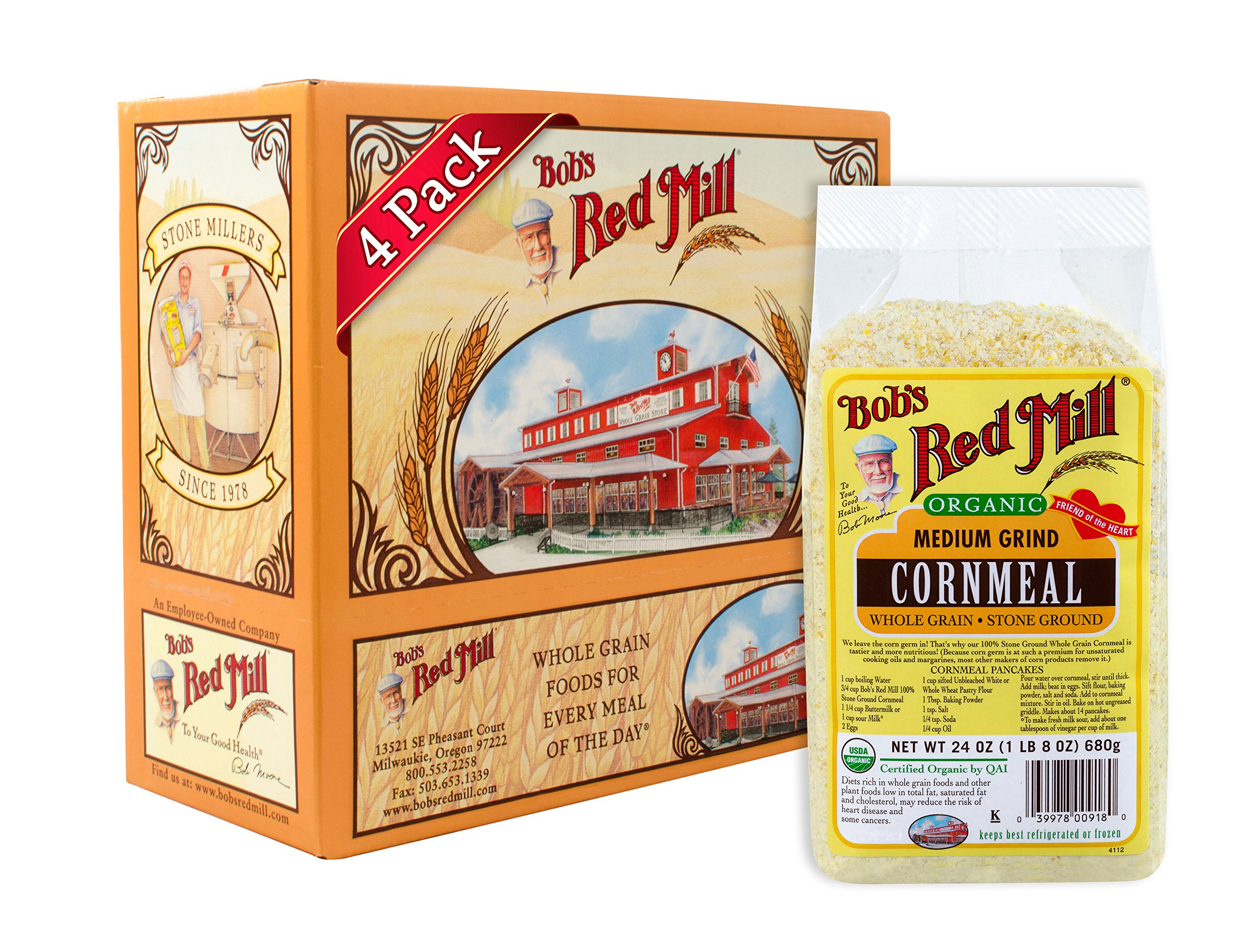Bob's Red Mill Organic Medium Grind Cornmeal, 24-ounce (Pack of 4)