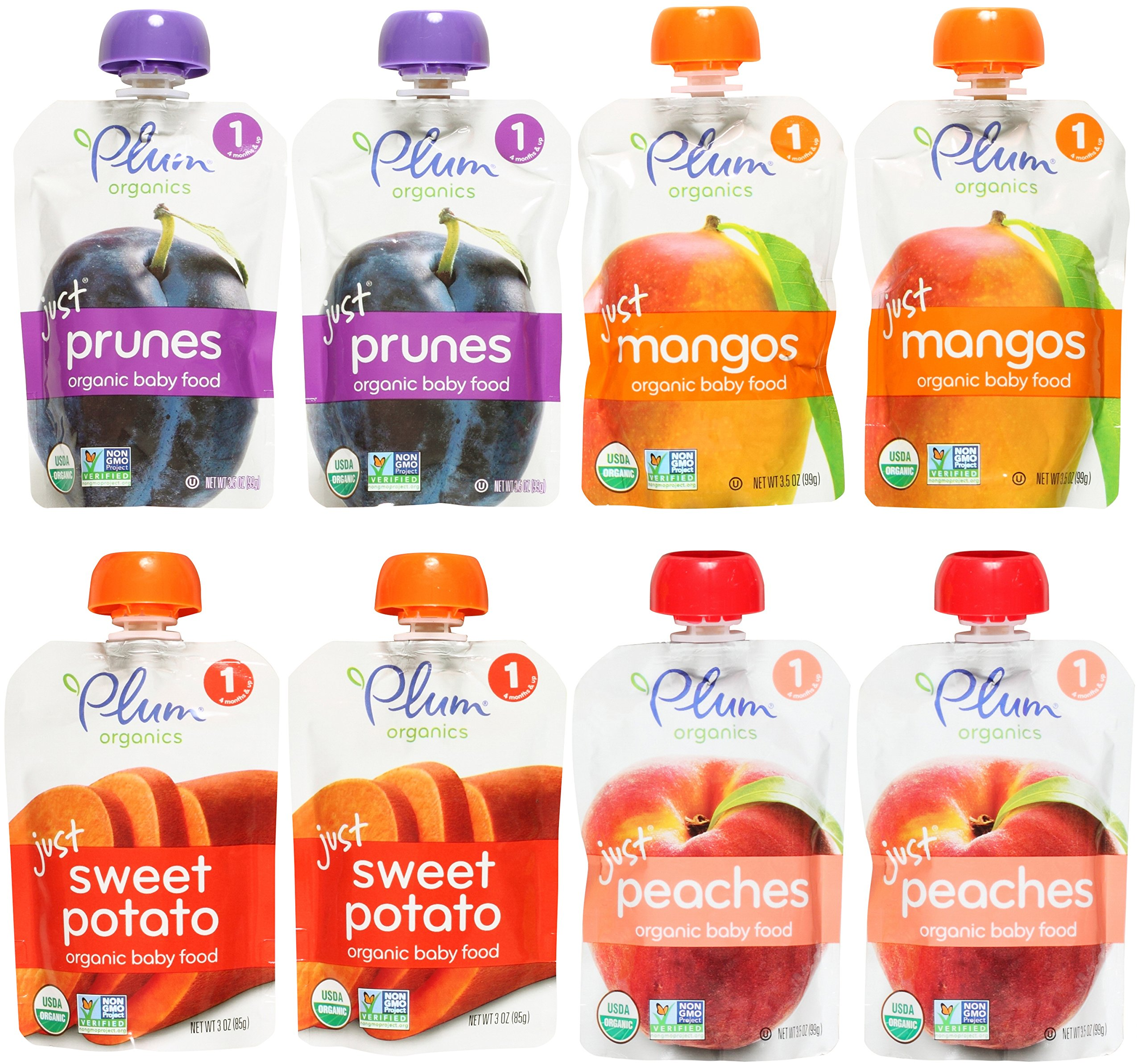 Plum Organics Stage 1 Just Fruit & Veggies Variety Pouch Bundle: (2) Just Prunes 3.5oz, (2) Just Mangos 3.5oz, (2) Just Sweet Potato 3oz, and (2) Just Peaches 3.5oz (8 Pack Total) by Plum Organics (Image #1)