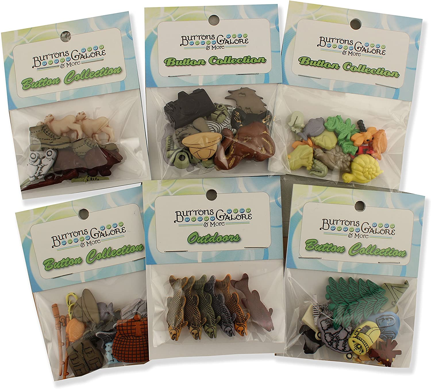 Buttons Galore Nature Button Theme Packs-Set of 6