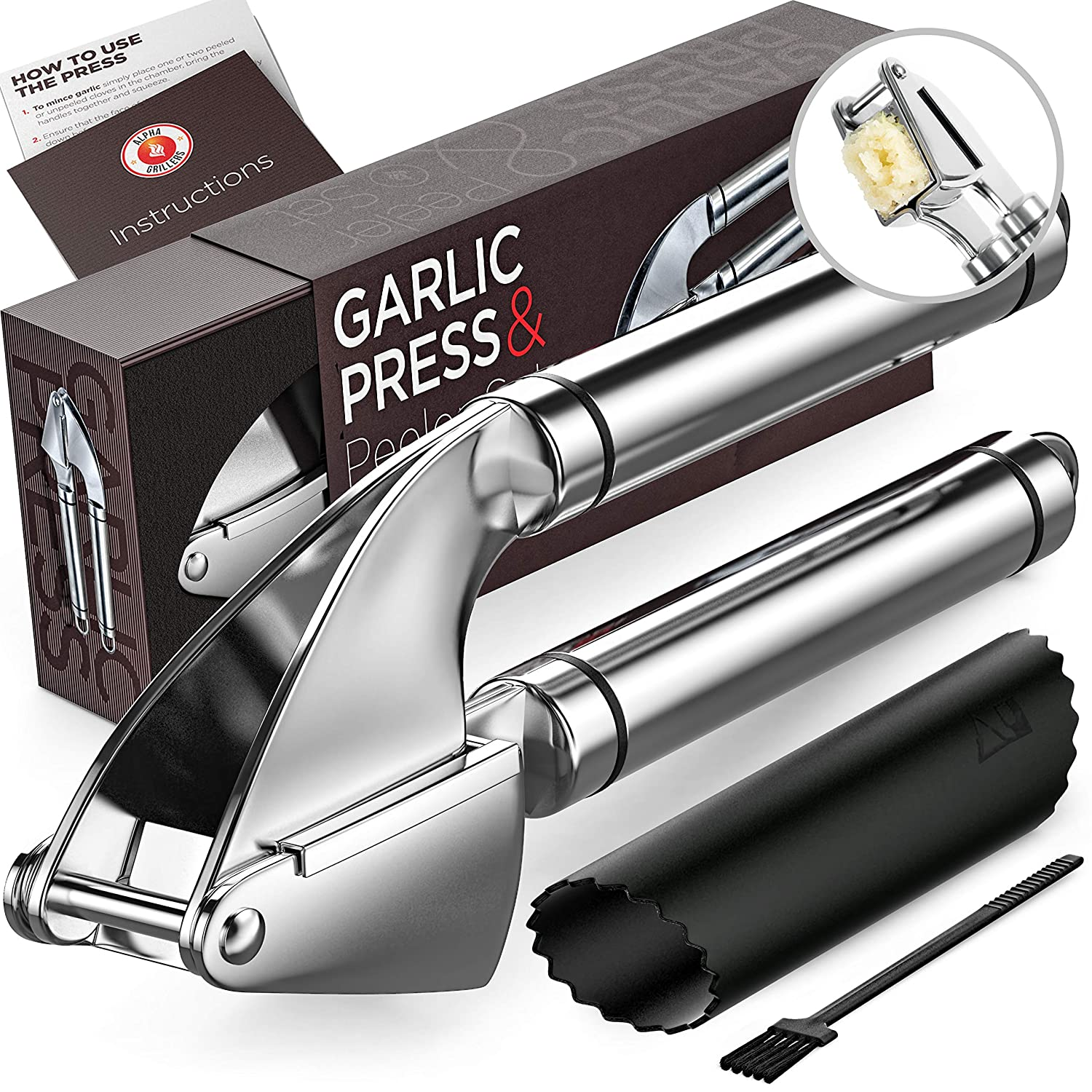 Garlic Press. Stainless Steel Mincer & Crusher With Silicone Roller Peeler. Easy Squeeze, Rust Proof, Dishwasher Safe, Easy Clean. By Alpha Grillers