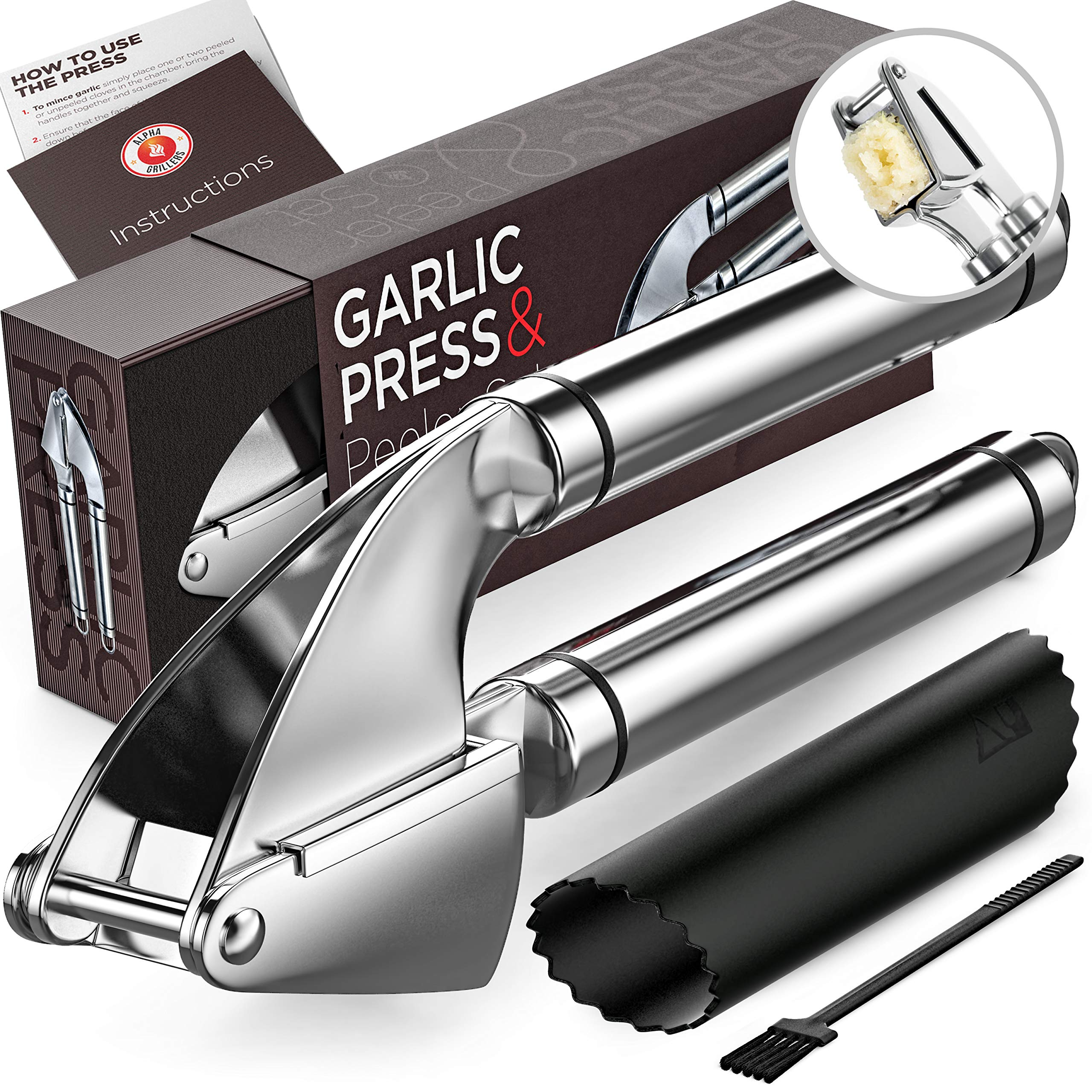 Alpha Grillers Garlic Press. Stainless Steel Mincer & Crusher With Silicone Roller Peeler. Easy Squeeze, Rust Proof, Dishwasher Safe, Easy Clean by Alpha Grillers