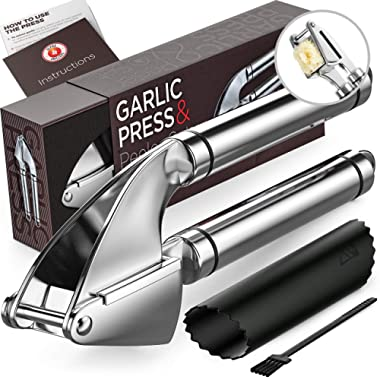 Garlic Press. Stainless Steel Mincer and Crusher With Silicone Roller Peeler. Easy Squeeze, Rust Proof, Dishwasher Safe, Easy Clean. By Alpha Grillers