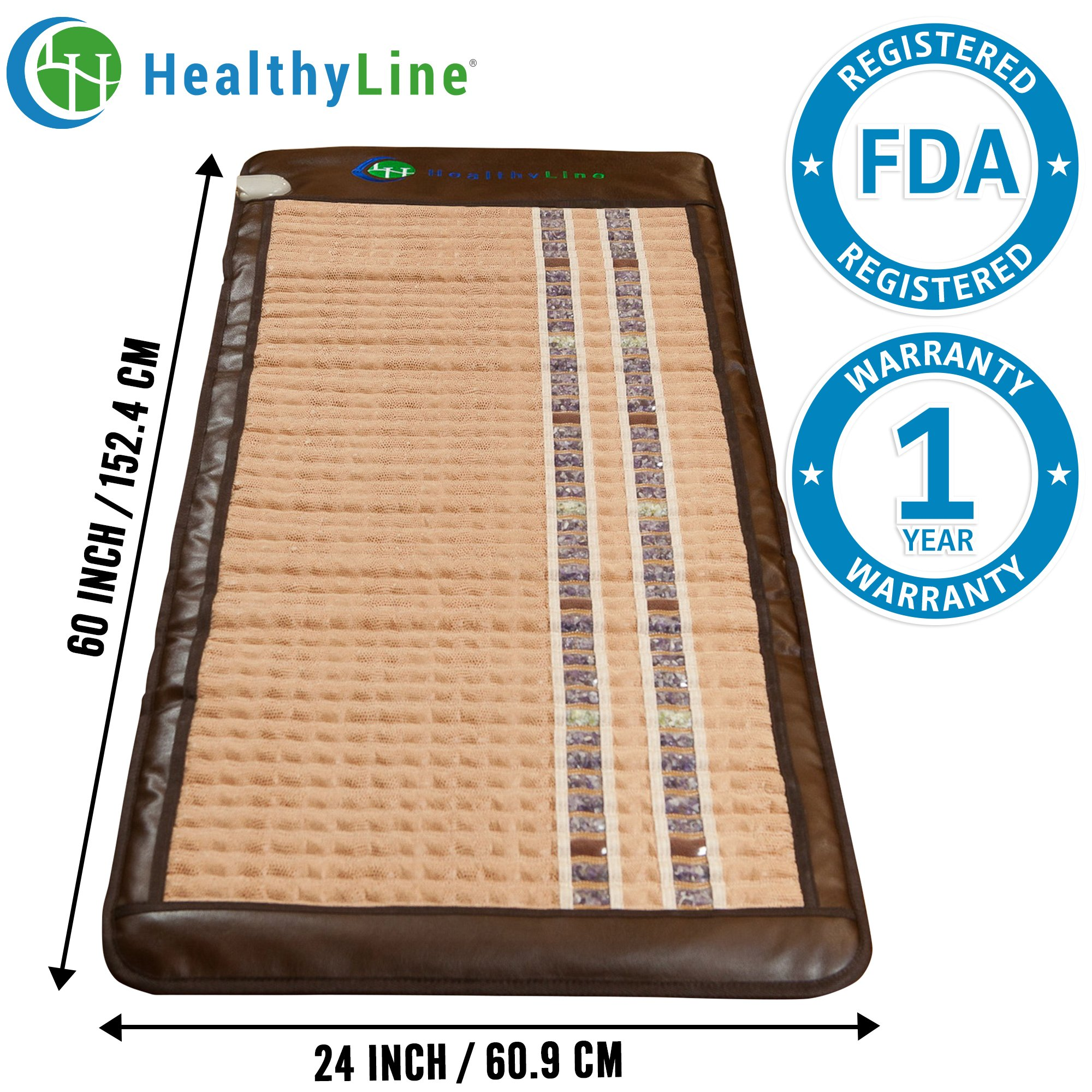 HealthyLine Infrared Heating Mat (Soft & Flexible)|TAJ, Natural Amethyst, Jade & Tourmaline Ceramic, (Full-Body) 60″ x 24″ |Relieve Pain, Sore Muscles, Arthritis and Injury Recovery |US FDA by HealthyLine