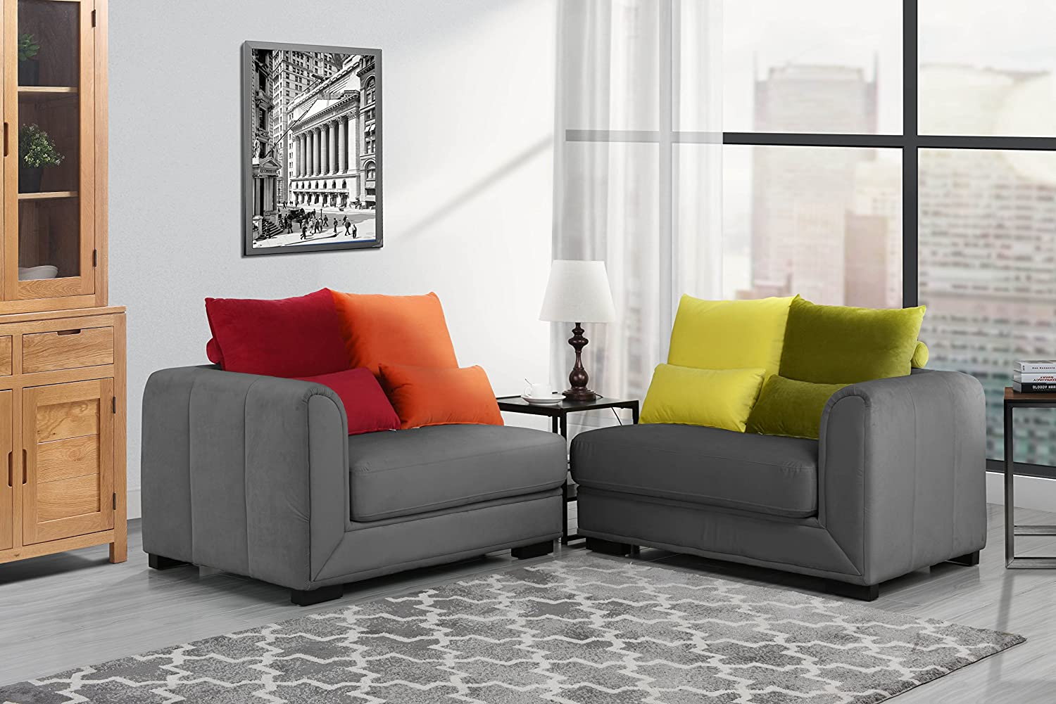 Classic 2 Piece Colorful Velvet Convertible Living Room Sofa, Adjustable  Couch (Dark Grey)