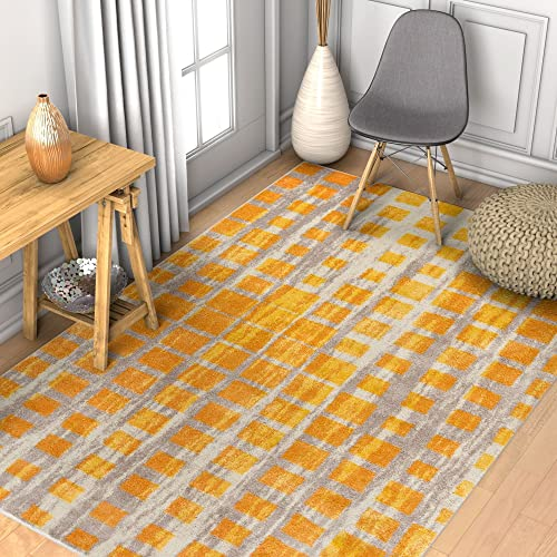 Modern Geometric 8×11 7 10 x 10 6 Area Rug Casablanca Ombre Squares Boxes Yellow Beige Vibrant Abstract Lines Squares Contemporary Thick Soft Plush