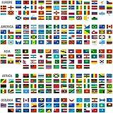 Drapeaux du monde par continent (Europe, Amérique, Asie, Afrique et Océanie) avec des noms de pays, Poster mural de 33x 33cm