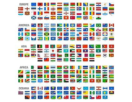 banderas de paises con los nombres