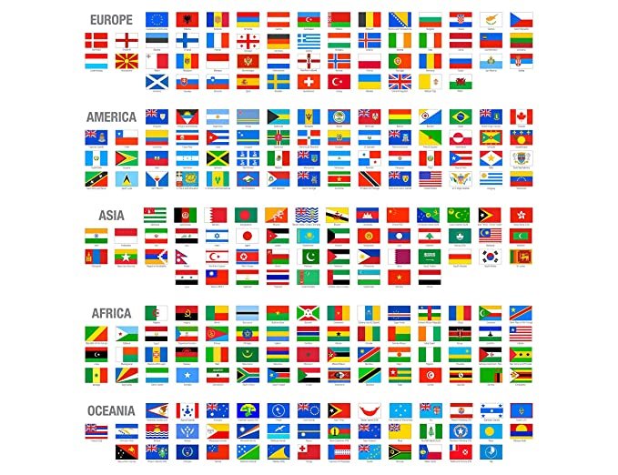 Banderas Del Mundo Clasificadas Por Continentes Europa America