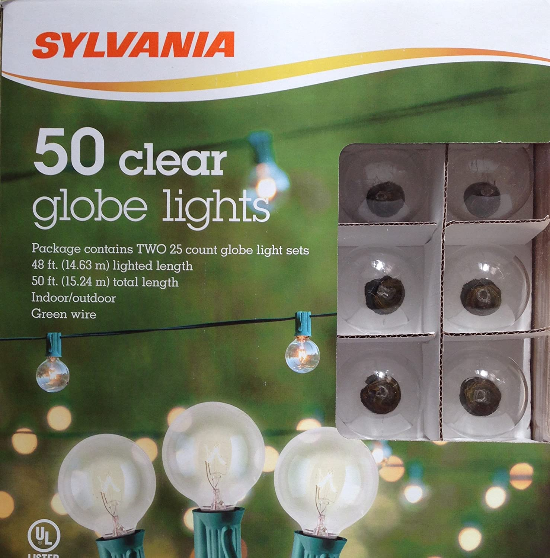 sylvania 50 clear g40 clear globe string light 50