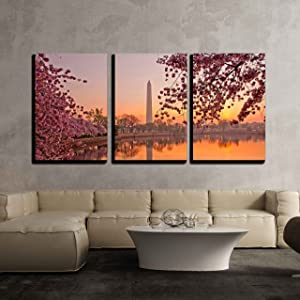 """wall26 - 3 Piece Canvas Wall Art - Cherry Blossom Festival at The National Mall Washington, Dc - Modern Home Art Stretched and Framed Ready to Hang - 16""""x24""""x3 Panels"""