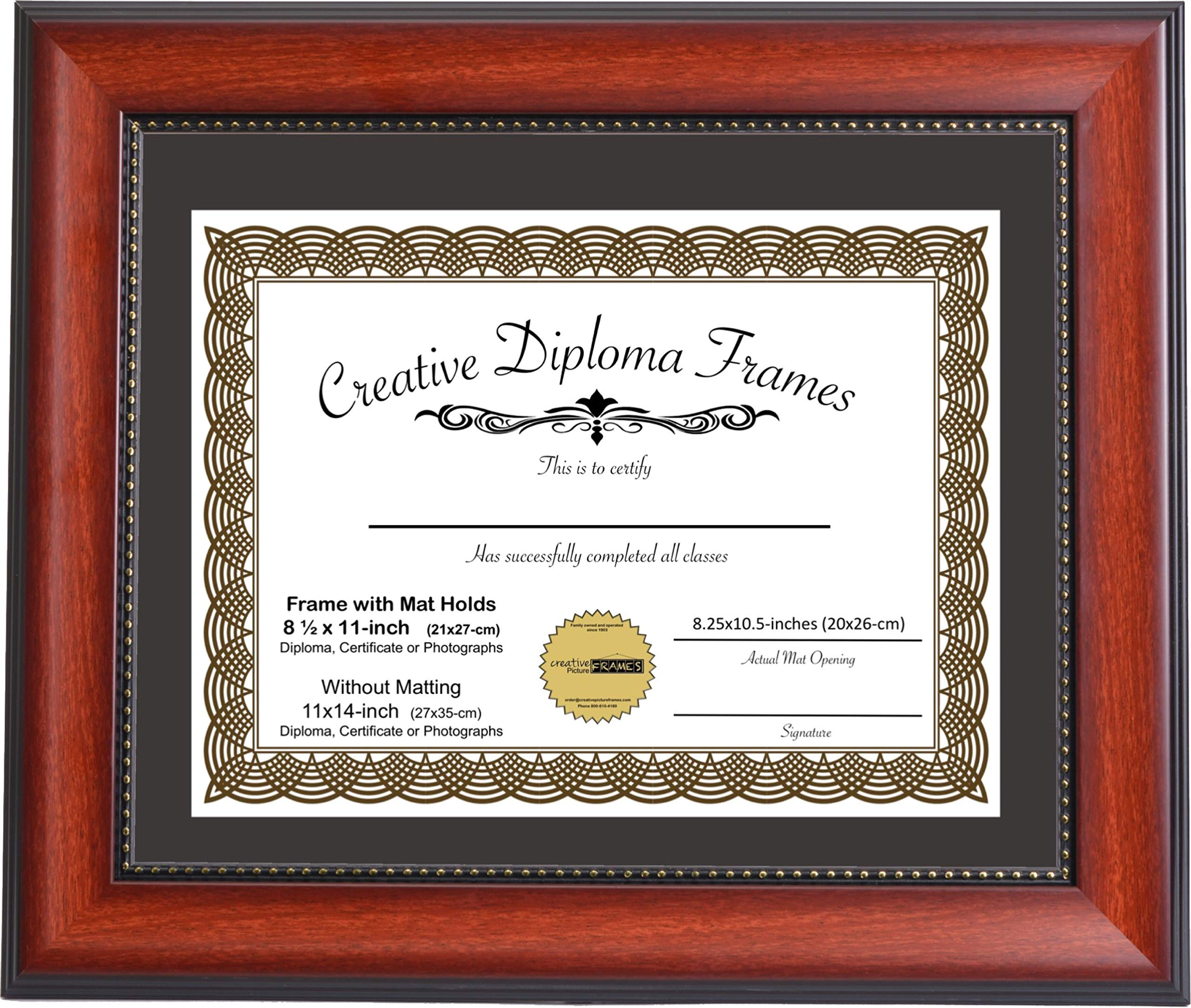 CreativePF [mh930-b] 11x14-inch Eco-Mahogany Beaded Lip Collection Diploma Frame with Black Mat Holds 8.5x11-inch Media, with Installed Hangers for Either Orientation