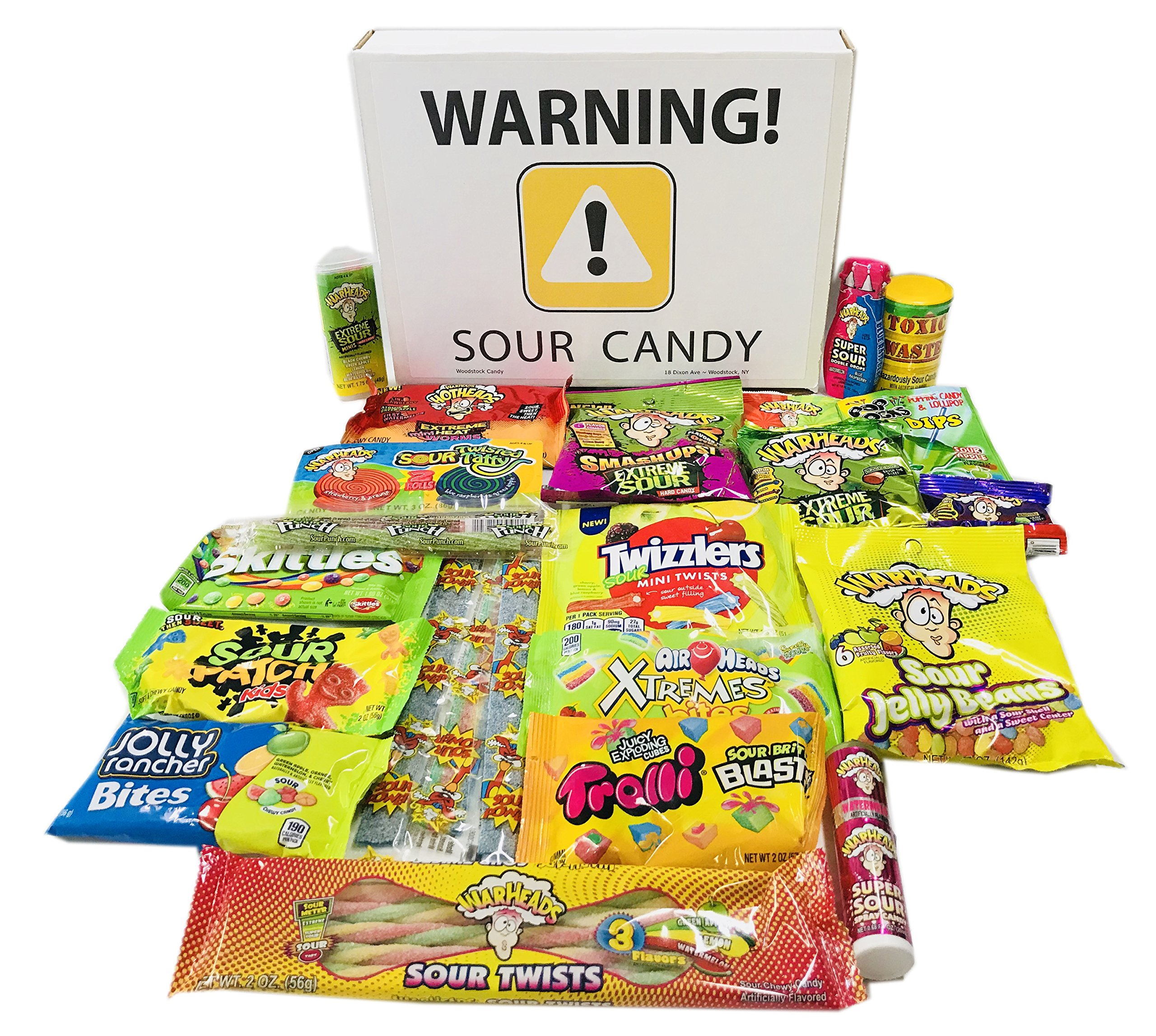 Sour Candy Assortment Gift Box ~ Warheads Extreme Sour Hard Candy, Toxic Waste, Sour Patch Kids, Belts, Spray, Straws, Airheads Xtreme Bites, Brite Blasts, Pop Rocks Dip, Pucker Pack Powder, and more by Woodstock Candy