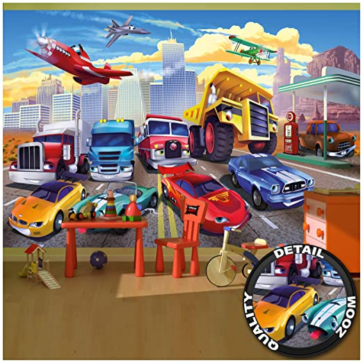 GREAT ART Foto Mural Infantil de Cars Decoración para cuarto de niños Tapiz  de coches camiones y aviones (336x238 cm)