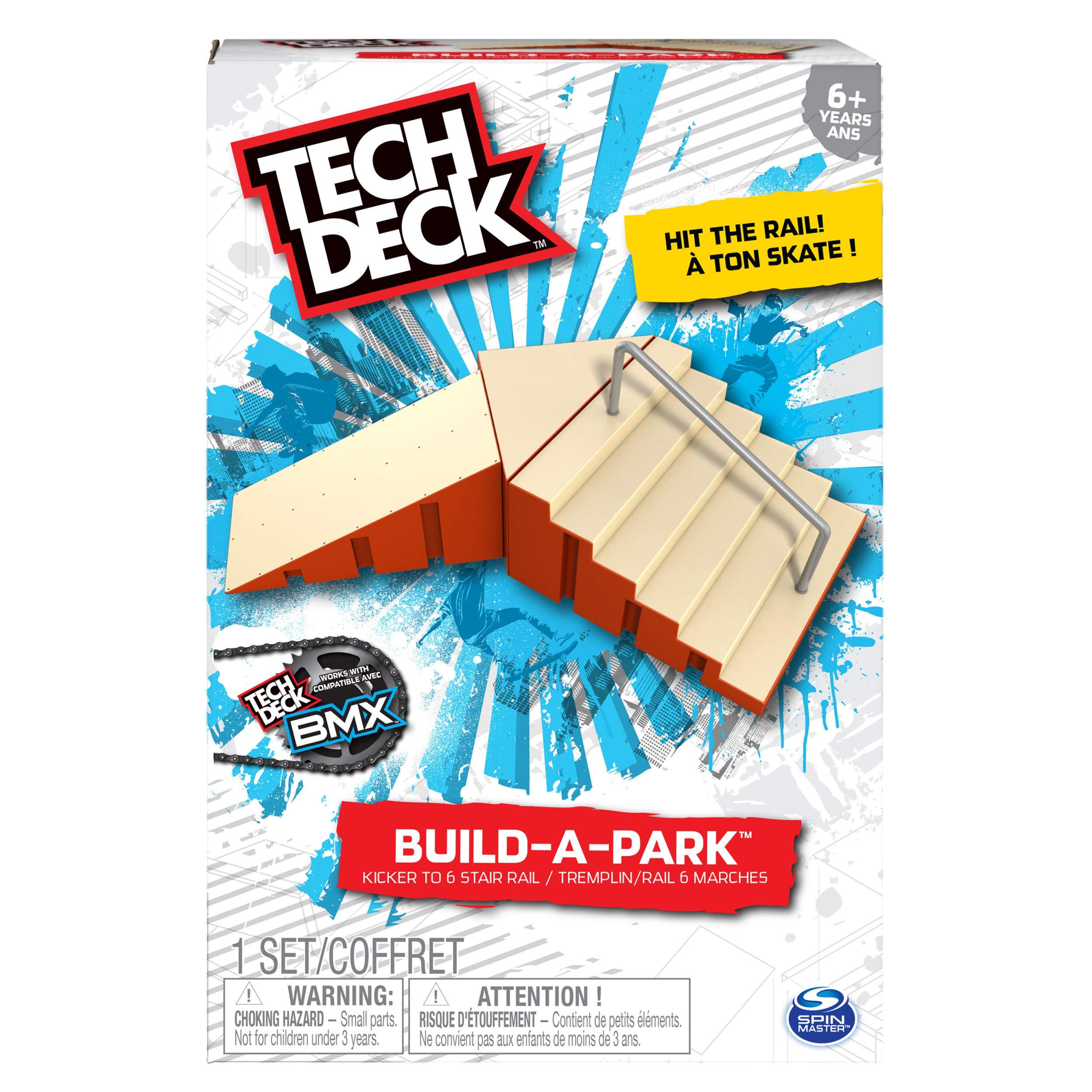 Tech Deck - Build-A-Park - Kicker to 6 Stair Rail (Red)