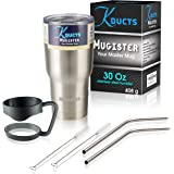 Mugister Travel Mug 30oz Stainless Steel Tumbler - Double Wall Vacuum Insulated, BPA Free Tumbler With Splash Proof Lid For Cold & Hot Drinks Including a Bonus Grip Handle