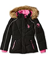U.S. Polo Assn. Girls' Bubble Jacket with Faux Fur Trimmed Hood