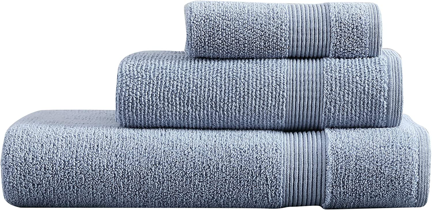 Vera Wang | Splendid Solid Collection | Turkish Cotton Towel Set- Decorative Luxury Hotel & Spa Quality Bathroom Linens, Absorbent & Fade Resistant, 3 Piece, Blue