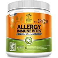 Zesty Paws Allergy Immune Supplement for Dogs - with Omega 3 Wild Alaskan Salmon Fish Oil & EpiCor + Digestive Prebiotics & Probiotics - Seasonal Allergies + Anti Itch & Hot Spots Skin Support
