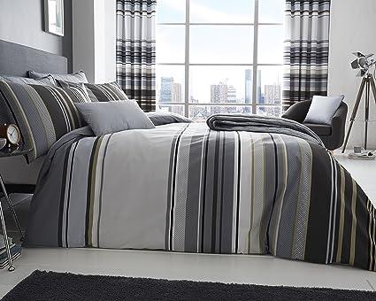 9a68f276b09 Alan Symonds Ashcroft Stripe Double (200x200cm) Printed Duvet Set - Grey:  Amazon.co.uk: Kitchen & Home