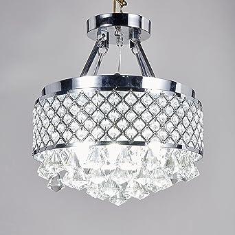 Central Park Semi Flush Mount Crystal Chandelier Lighting, Diameter ...