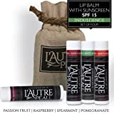 Luxury Lip Balm Set with SPF 15 by L'AUTRE PEAU - Dry Chapped Lips Treatment with Moisturizer for Sun Protection (Indulgence Set)