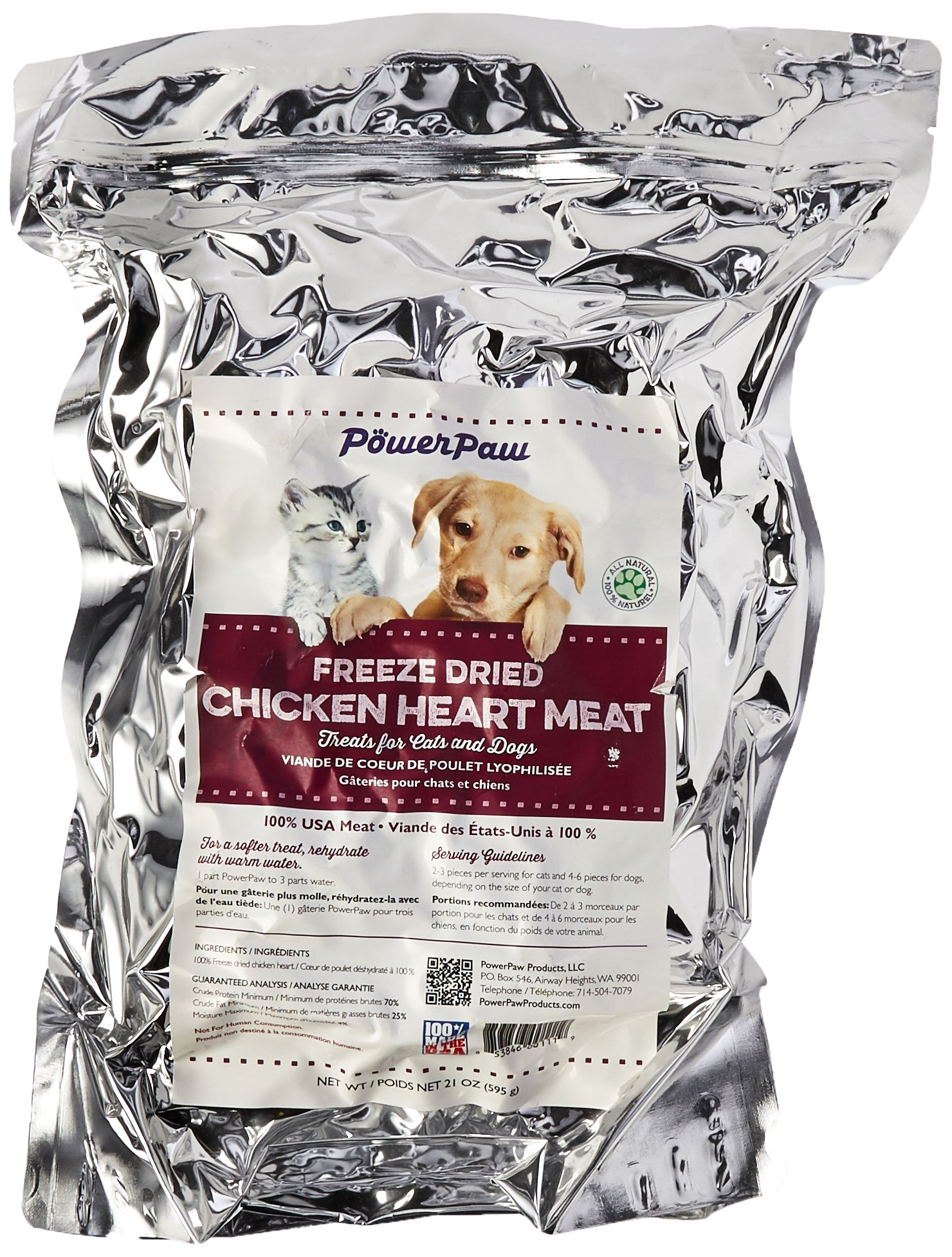 Power Paw Products 1 Pouch Freeze Dried Chicken Hearts, 21 Oz