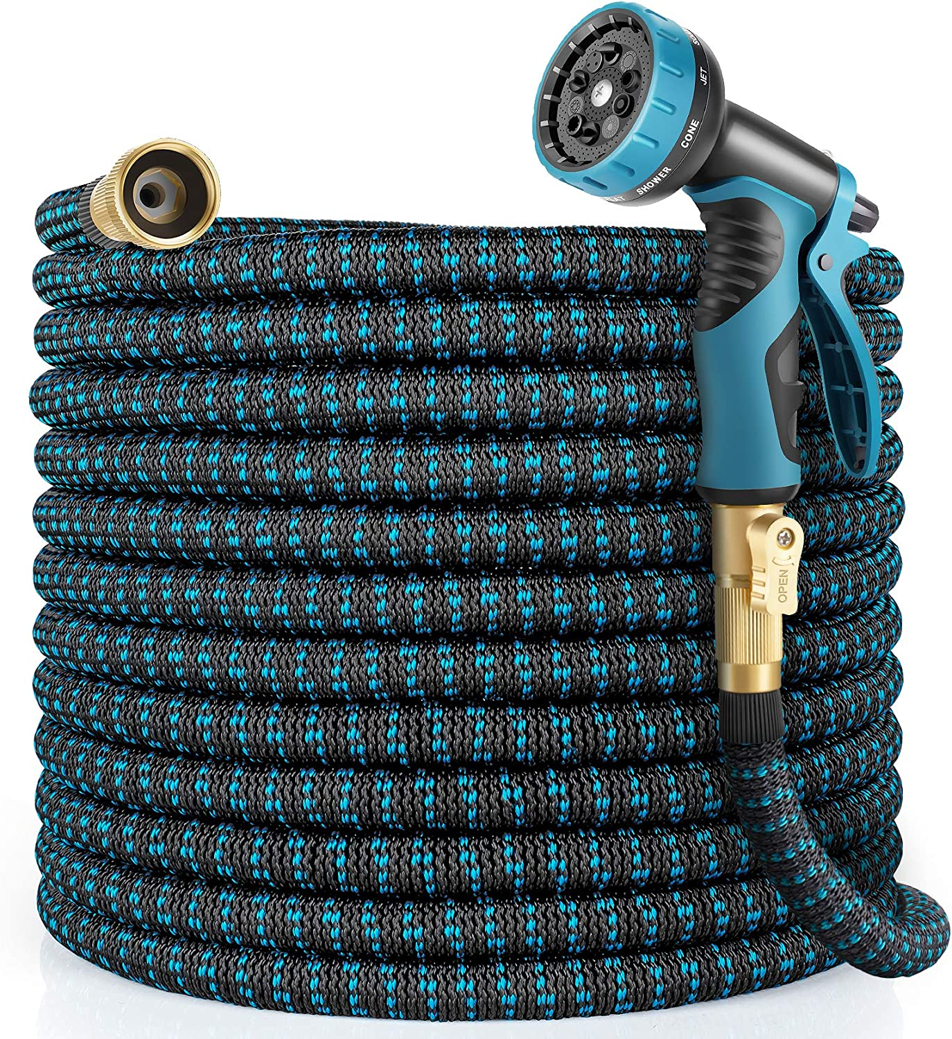 HARNMOR Expandable Garden Hose 100ft - Flexible Water Hose with 10 Function Nozzle, Double Latex Core and 3/4 Inch Solid Fittings,3 Times Expanding Kink Free Easy Storage Collapsible Water Hose