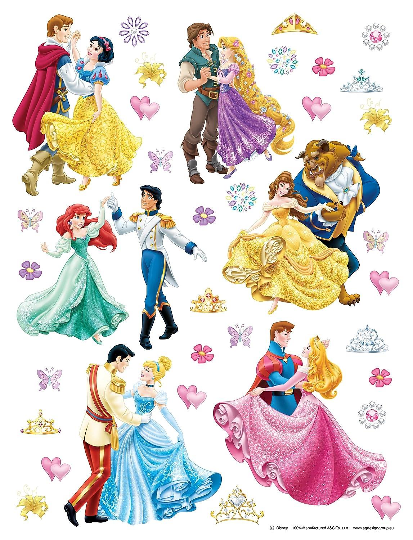 AG Design DKS 1081delle Principesse Disney, Adesivi da parete, 30x 30cm–Parte 1, carta, colorato, 30x 30cm 30x 30cm-Parte 1