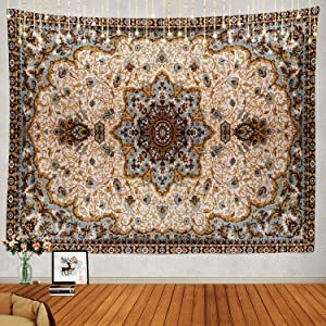 Shrahala Round Mandala Blue Grey Tapestry, Eastern Oriental Persian Textile Pattern Wall Hanging Large Tapestry Psychedelic Tapestry Decorations Bedroom Living Room Dorm(51.2 x 59.1 Inches, Blue 4)