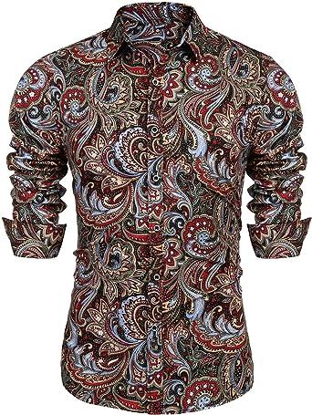 JINIDU - Camisa de manga larga con botones para hombre, diseño floral: Amazon.es: Ropa y accesorios