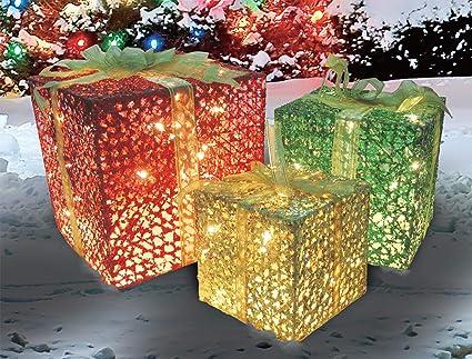 3-Piece Glittering Gift Box Set Lighted Christmas Outdoor Decoration - Amazon.com: 3-Piece Glittering Gift Box Set Lighted Christmas