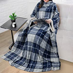 PAVILIA Deluxe Fleece Blanket with Sleeves for Adult, Men, and Women| Elegant, Cozy, Warm, Extra Soft, Plush, Functional, Lightweight Wearable Throw (Plaid Navy)