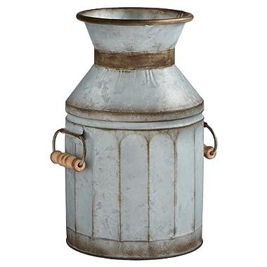 Stone & Beam Vintage Rustic Farmhouse Galvanized Metal Milk Jug Home Decor Planter Vase - 12.75 Inches, Grey
