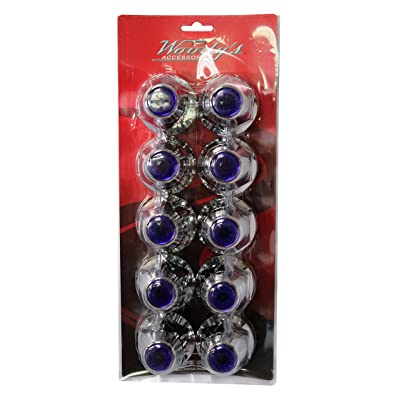 Woody's WP-605 Chrome Lug Cover with Blue Reflector, 10 Pack: Automotive