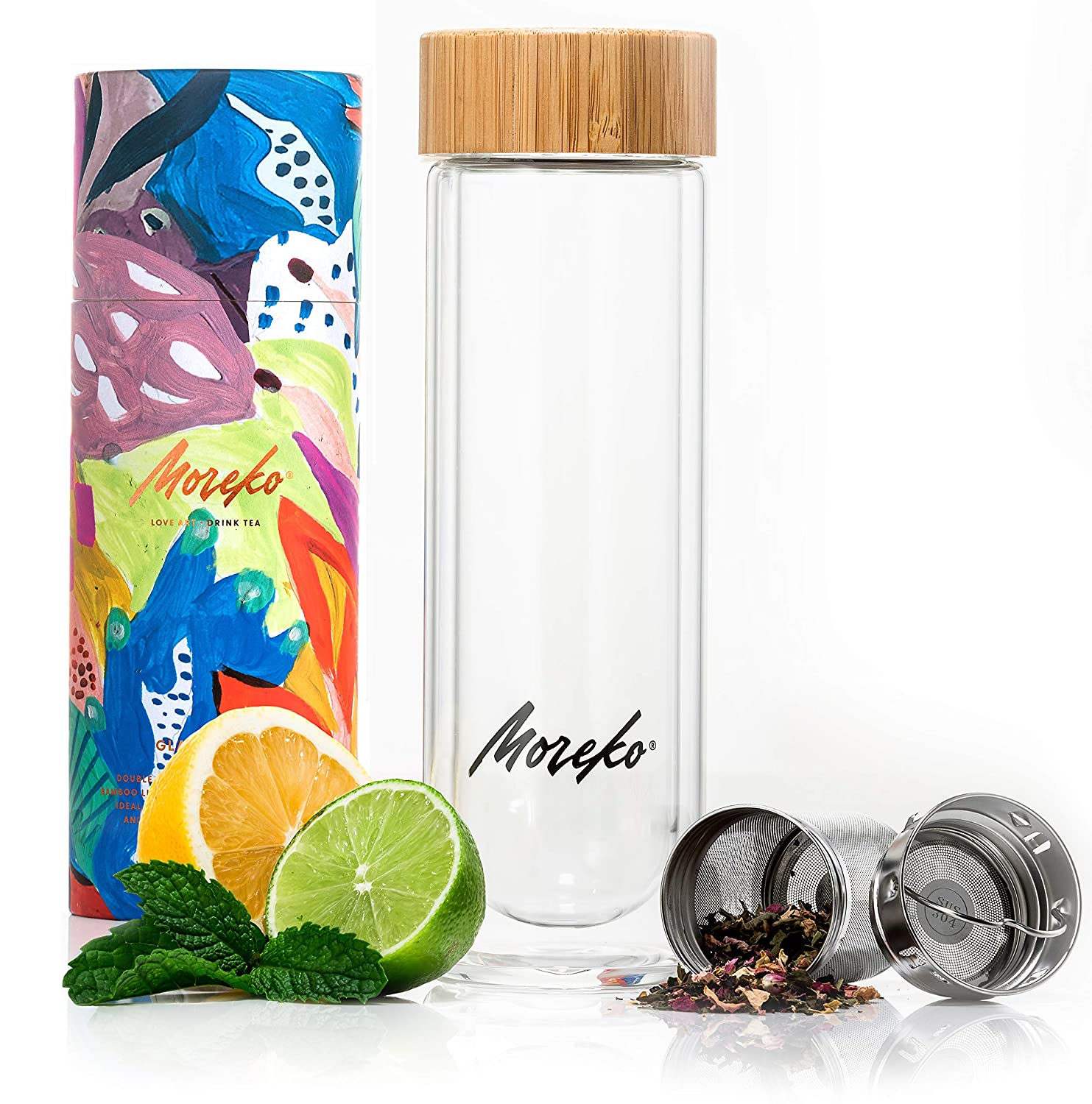 Moreko Stylish Drink Tumbler and Bottle with Tea Infuser Basket and Strainer, Double Wall Glass, Bamboo Lid, 15 oz.