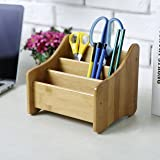 Natural Bamboo Wood Tabletop 3-Compartment Remote