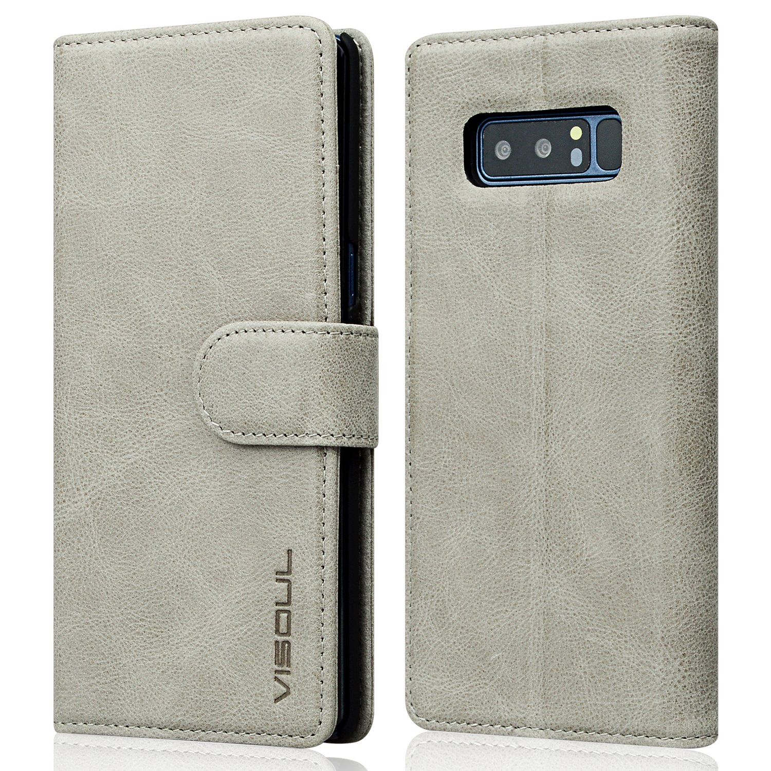Galaxy Note 8 Wallet Case, Visoul Genuine Leather Luxury Business Folio Book Wallet Case With Kickstand Function, Card Slots & Cash Holder, 【Magnetic Flap】 Case for Samsung Galaxy Note 8 - Grey