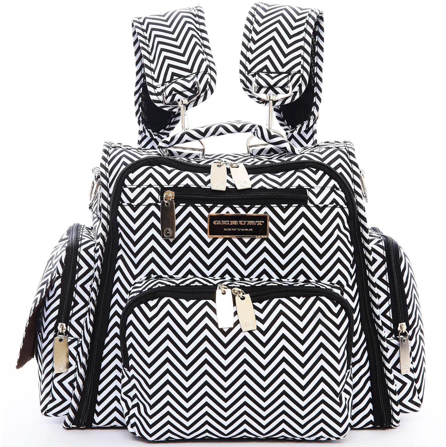 4 Style In 1 Fully Padded Convertible Diaper Bag/Backpack Set with 18 Pockets - Secure Insulated Zipper Pockets, Large Changing Pad, bottle cooler/warmer, Shoulder/Backpack / Stroller Straps Geburt