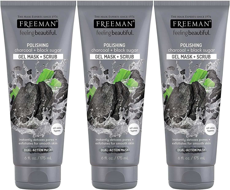 Freeman Facial Charcoal & Black Sugar Polish Mask 6 oz. - Set of 3