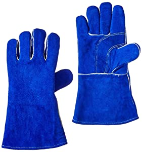"""US Forge 400 Welding Gloves Lined Leather, Blue - 14"""""""