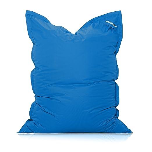 Livodoo® XXL Puf gigante azul 140 x180cm 400 litros puff xxl puff asiento cojin gigante relleno puff con saco interior en azul