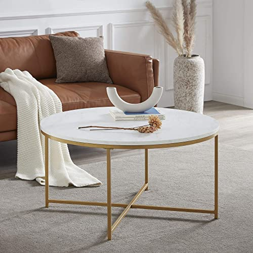 BELLEZE Yanet Modern Round Coffee Table Accent Table Home Decor