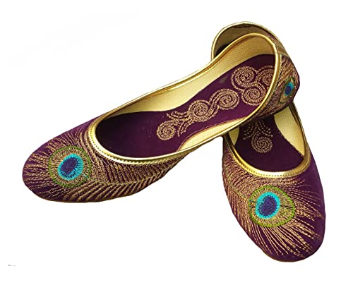 ccebe1bf618ec Handcrafted Luxury Bridal Women Flat Ballerina Velvet Khussa Shoe Mojari  Jooti Jutti Purple And Golden