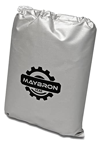 MayBron Gear Bike Cover, Best Waterproof Outdoor Bicycle Storage, Heavy Duty 210D Oxford Fabric, All Weather Protection for Mountain, 29er, Road, Cruiser, Electric & Hybrid Bikes, Black & Silver