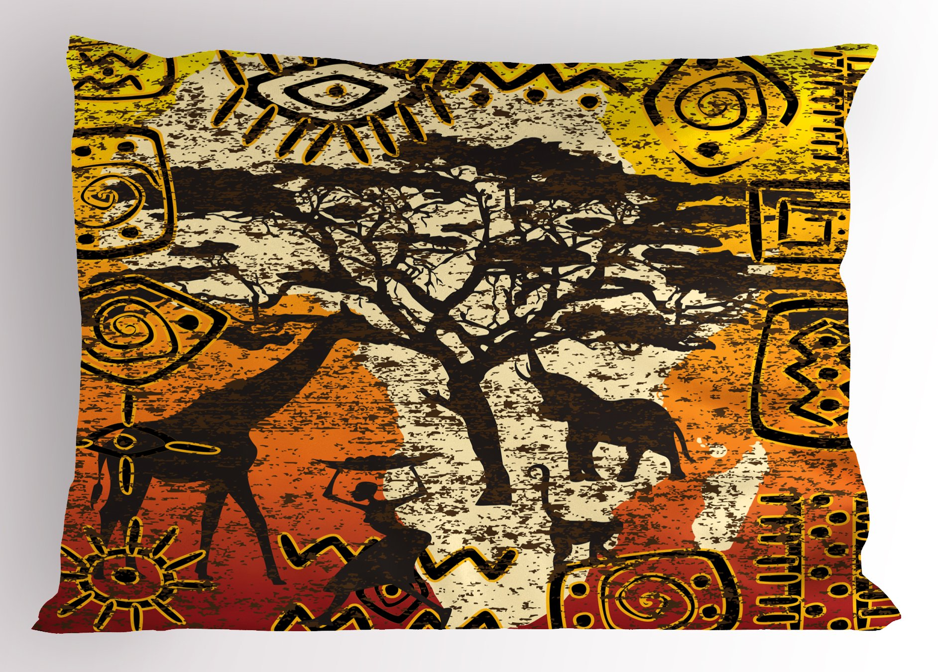 Lunarable African Pillow Sham, African Animals Safari Theme Ancient Cultural Ethnic Art Grunge Bohemian, Decorative Standard King Size Printed Pillowcase, 36 X 20 Inches, Yellow Orange Brown